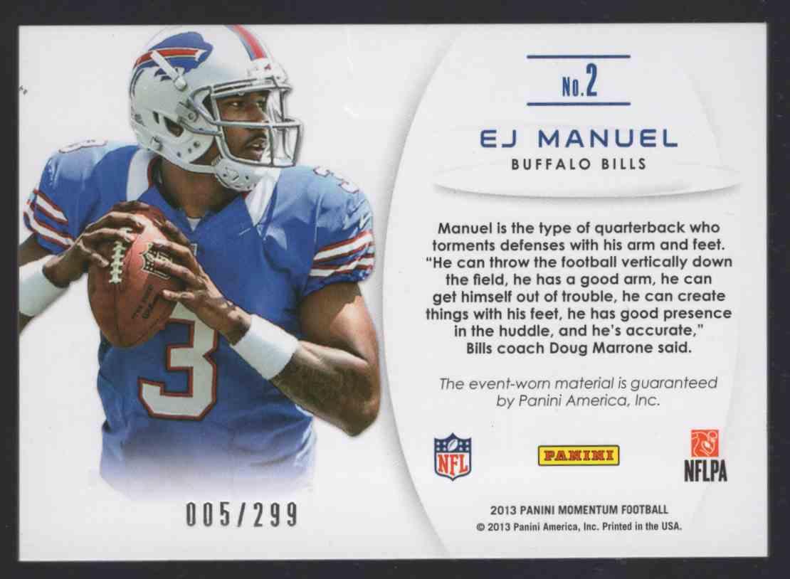 2013 Panini Momentum Upside Jumbo Jerseys E.J. Manuel #2 card back image