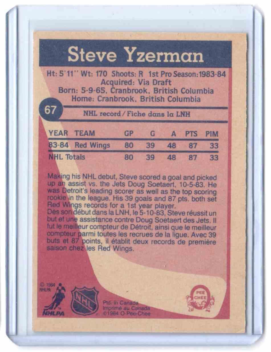 1984-85 O-Pee-Chee Steve Yzerman #67 card back image