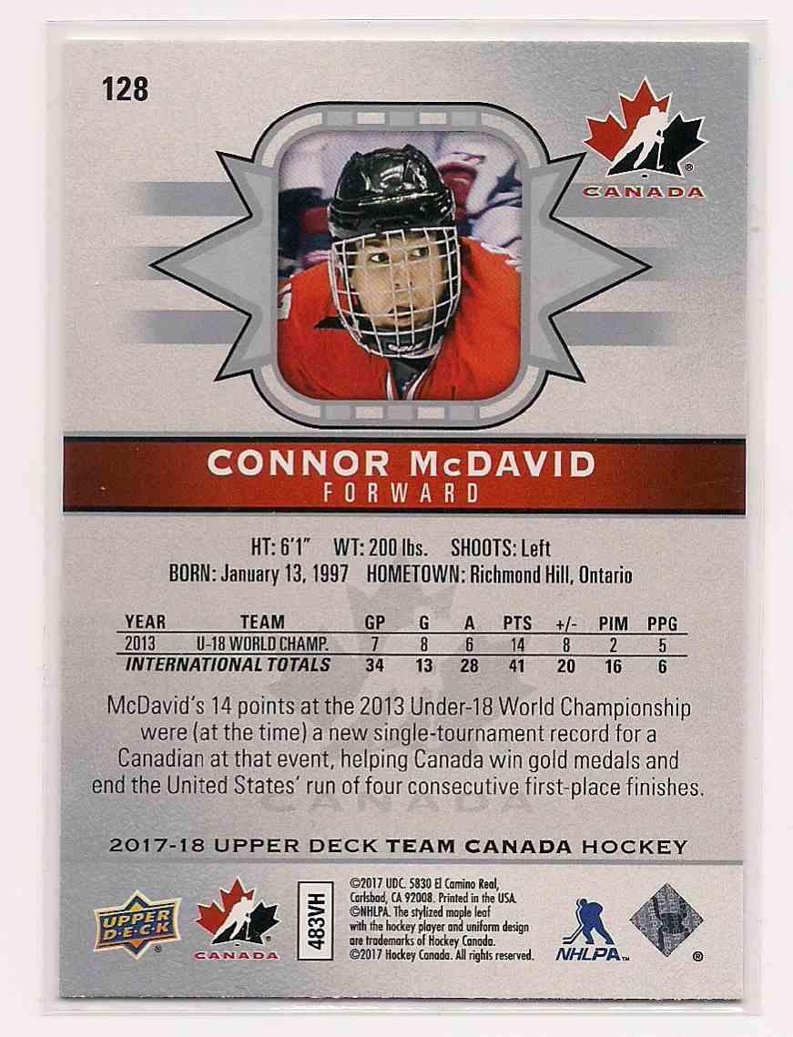 2017-18 Upper Deck Team Canada Connor McDavid #128 card back image