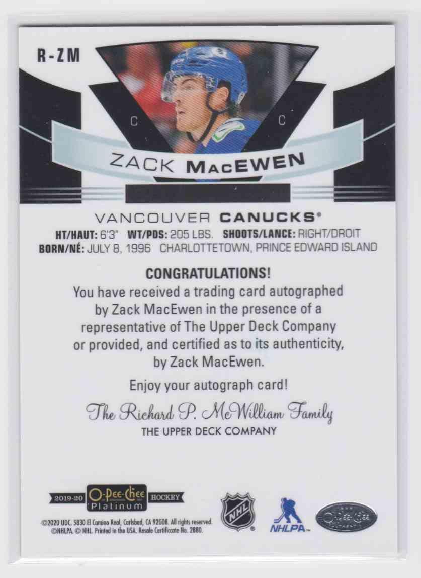 2019-20 Upper Deck Hockey O-Pee-Chee Platinum Zack MacEwen #R-ZM card back image