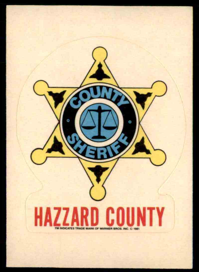 1981 Donruss Dukes Of Hazzard Sticker Hazzard County Sheriff card front image