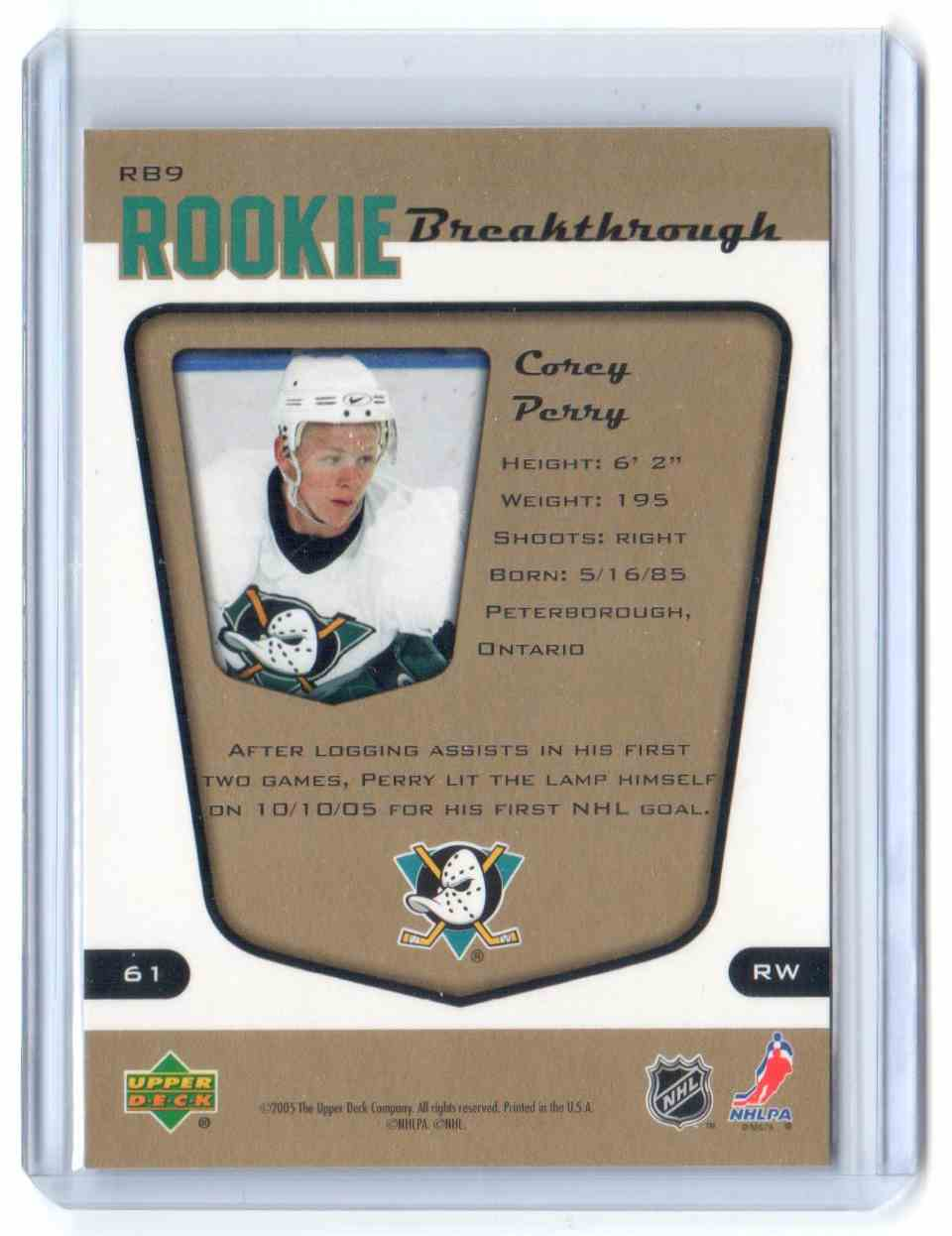 2005-06 Upper Deck MVP Rookie Breaktrough Corey Perry #RB9 card back image