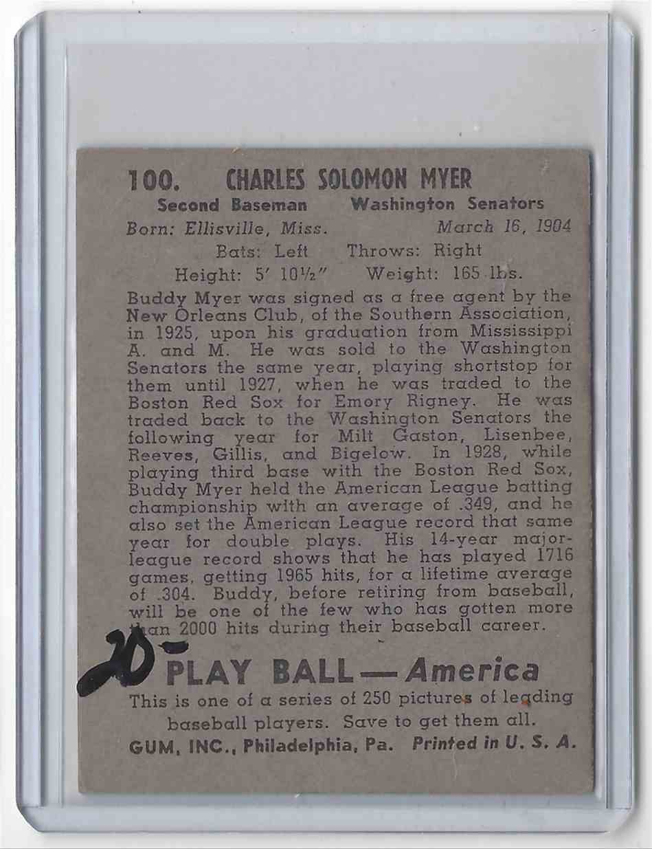 1939 Play Ball Charles Myer 100 On Kronozio