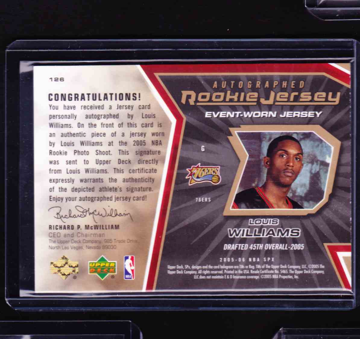 2005-06 2008-09 Upper Deck First Edition International Lou Williams card back image