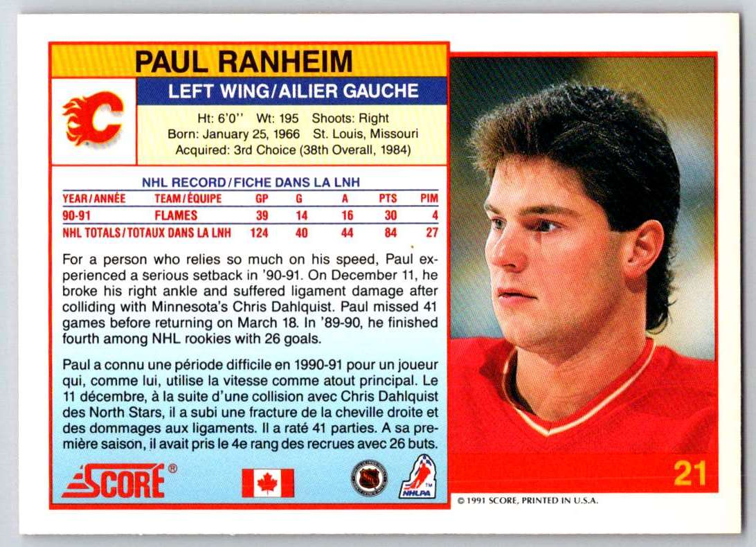 1991-92 Score Canadian Bilingual Paul Ranheim #21 card back image