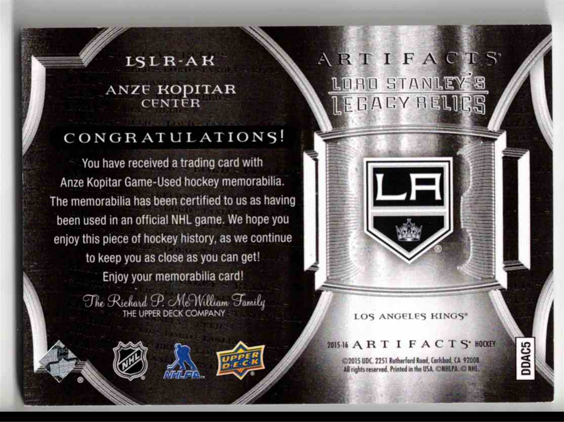 2015-16 Upper Deck Artifacts Lord Stanley's Legacy Relics Gold Anze Kopitar #LSLR-AK card back image