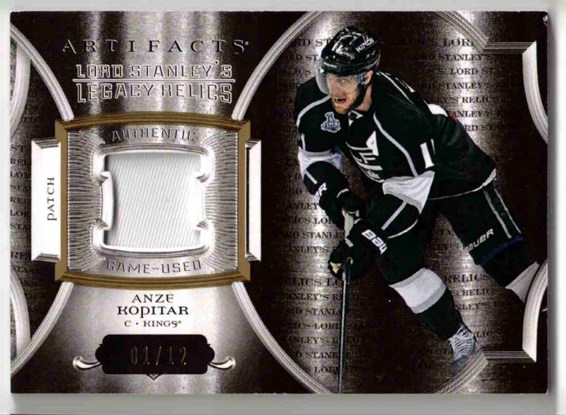 2015-16 Upper Deck Artifacts Lord Stanley's Legacy Relics Gold Anze Kopitar #LSLR-AK card front image