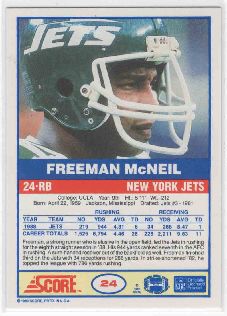 2019 Panini Score Freeman McNeil #24 card back image