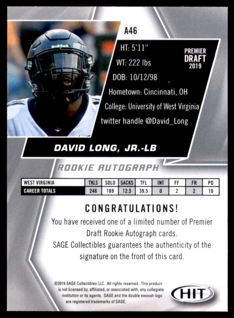 2019 Sage Hit Autographs Red David Long JR. #A46 card back image