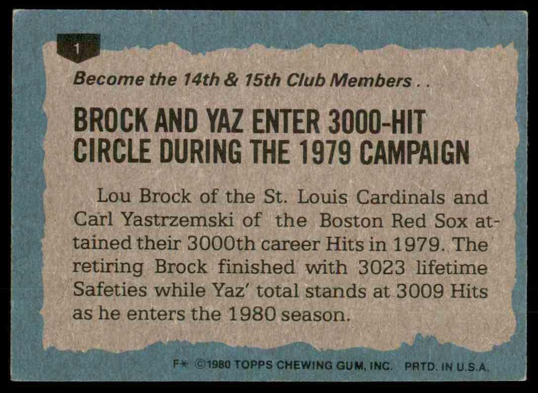 1980 Topps Lou Brock HL/Carl Yastrzemski #1 card back image