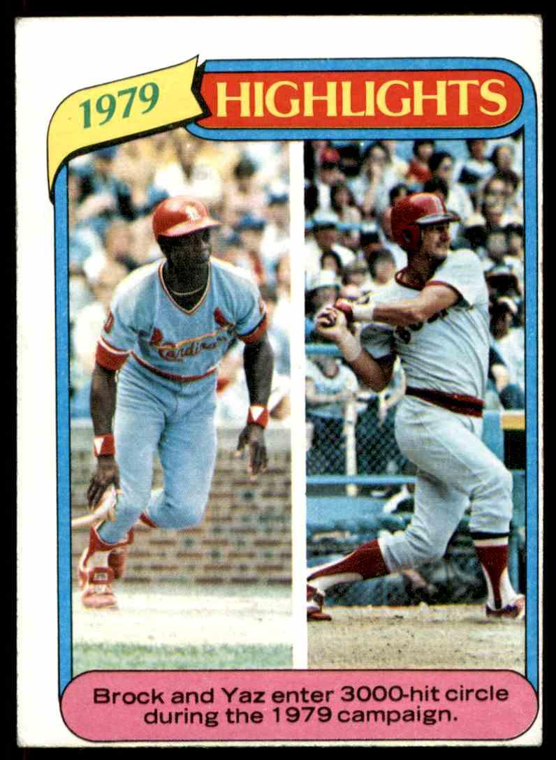 1980 Topps Lou Brock HL/Carl Yastrzemski #1 card front image