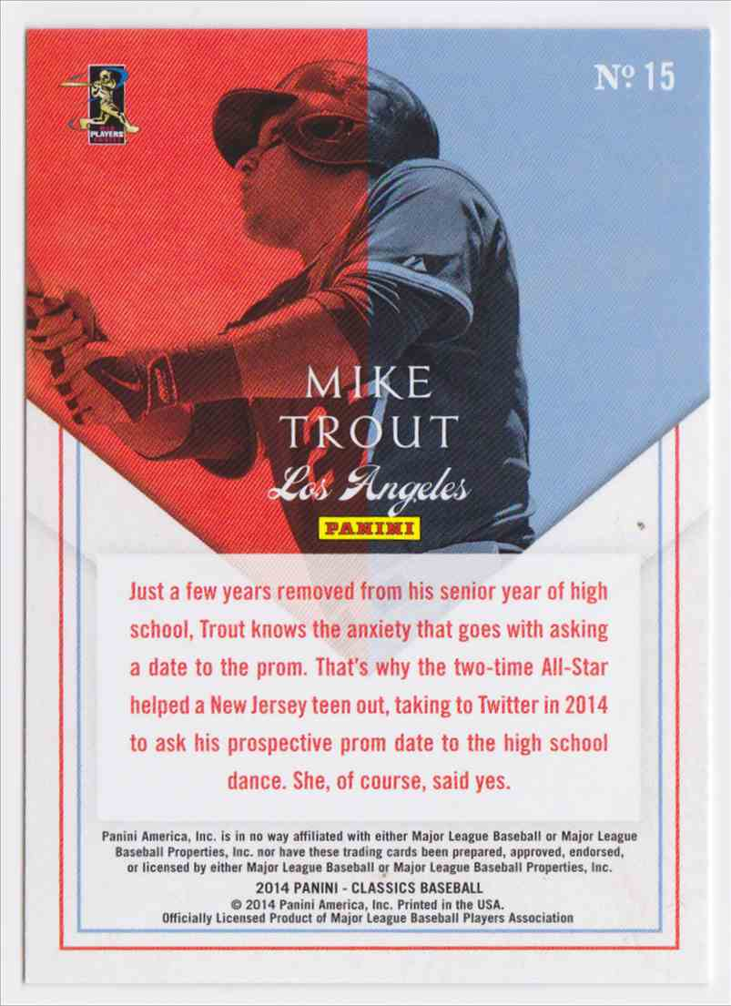 2014 Classics Home Run Heroes Mike Trout #15 card back image