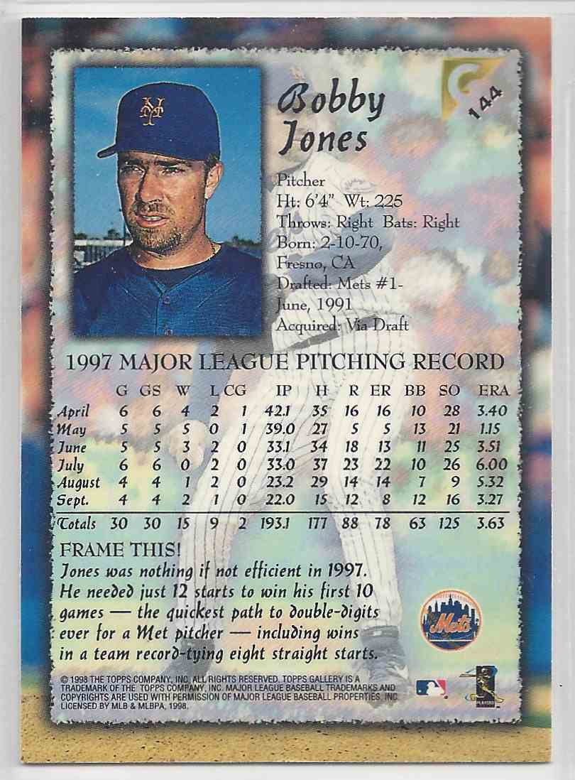 1998 Topps Gallerry Impressions Bobby Jones #144 card back image