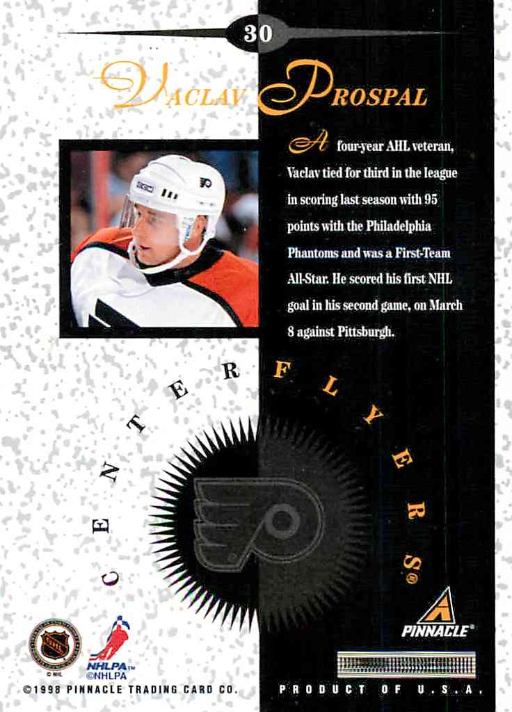 1997-98 Pinnacle Mint Bronze Vaclav Prospal #30 card back image