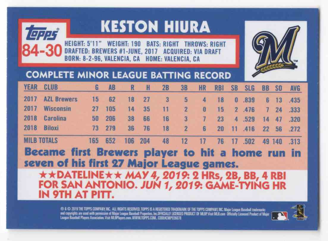 2019 Topps Update '84 Topps Keston Hiura #8430 card back image