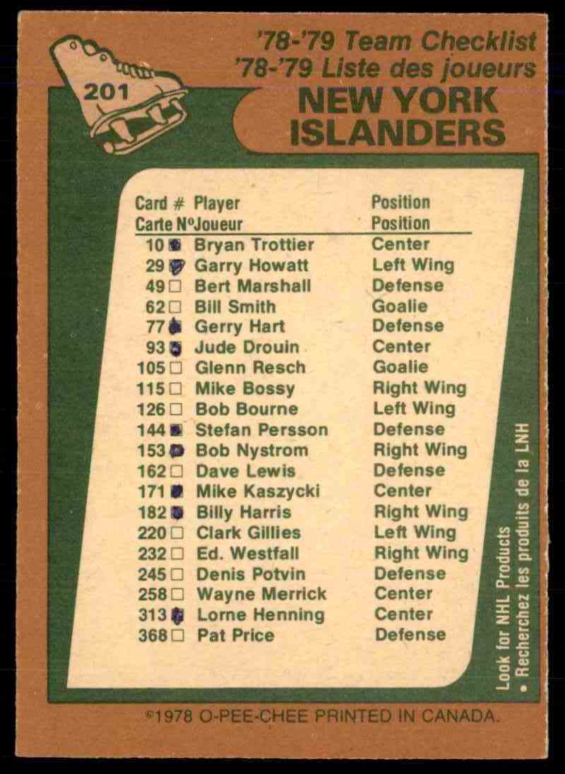 1978-79 O-Pee-Chee New York Islanders Checklist #201 card back image