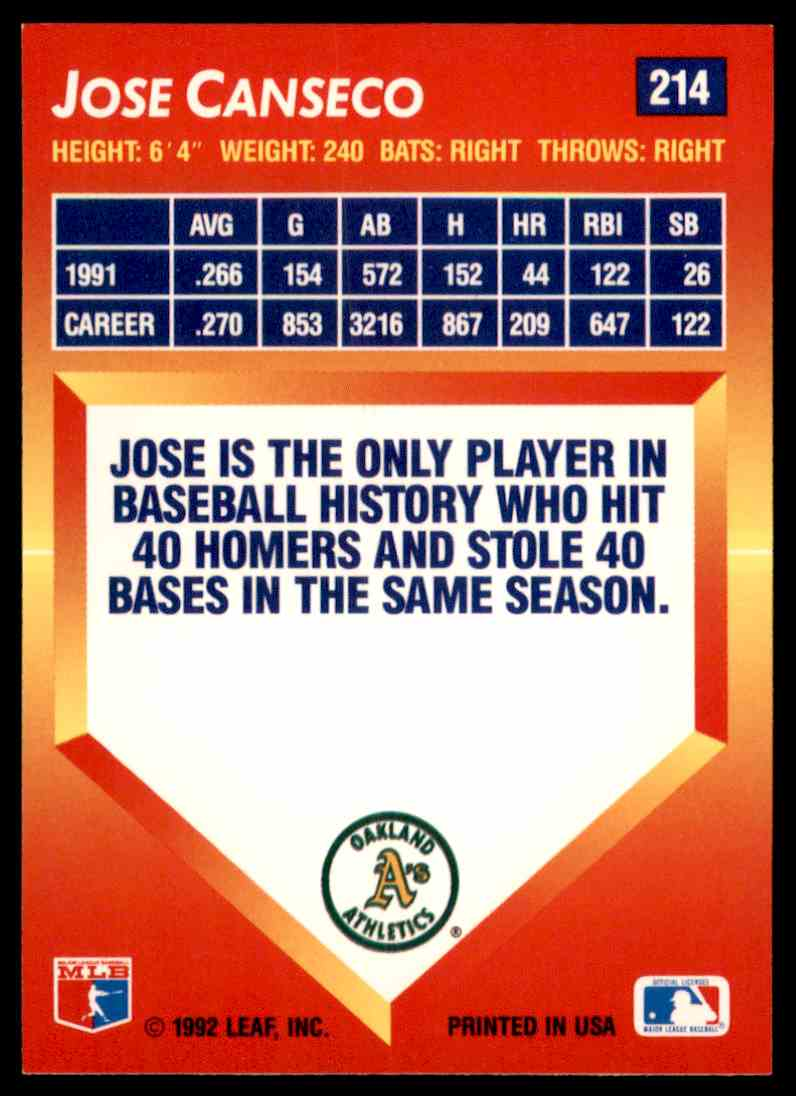 1992 Donruss Triple Play Leaf Jose Canseco 214 On Kronozio