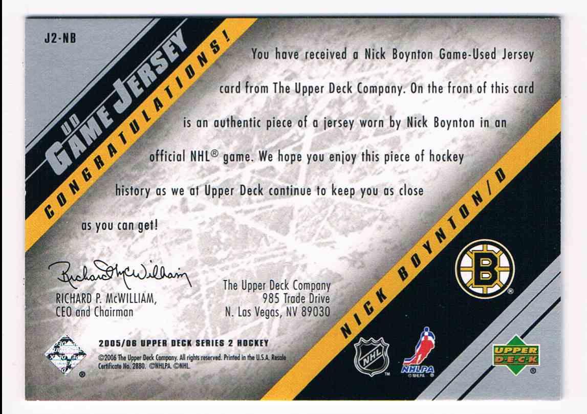 2005-06 Upper Deck UD Game Jersey Nick Boynton #J2-NB card back image