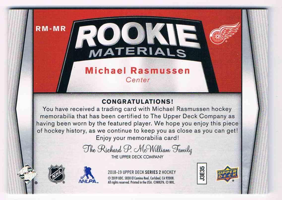 2018-19 Upper Deck Rookie Materials Michael Rasmussen #RM-MR card back image