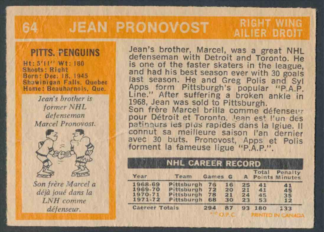 1972-73 O-Pee-Chee Jean Pronovost #64 card back image