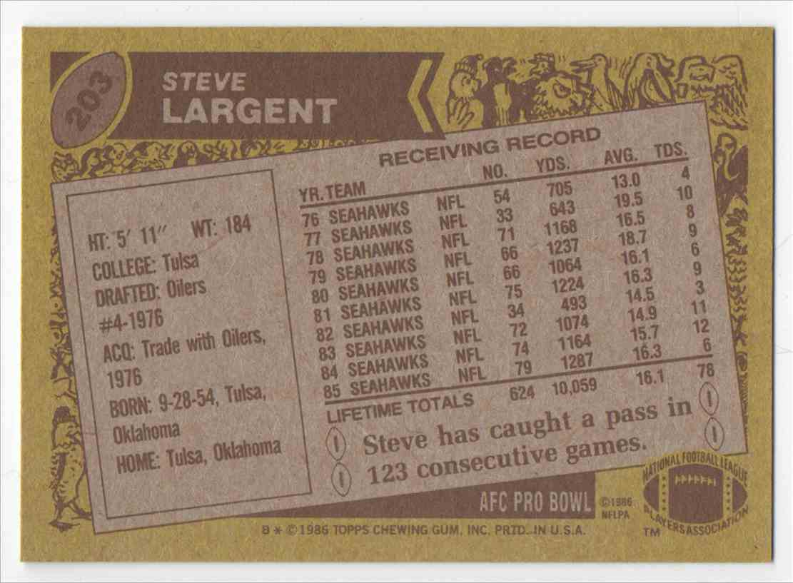 1986 Topps Steve Largent #203 card back image