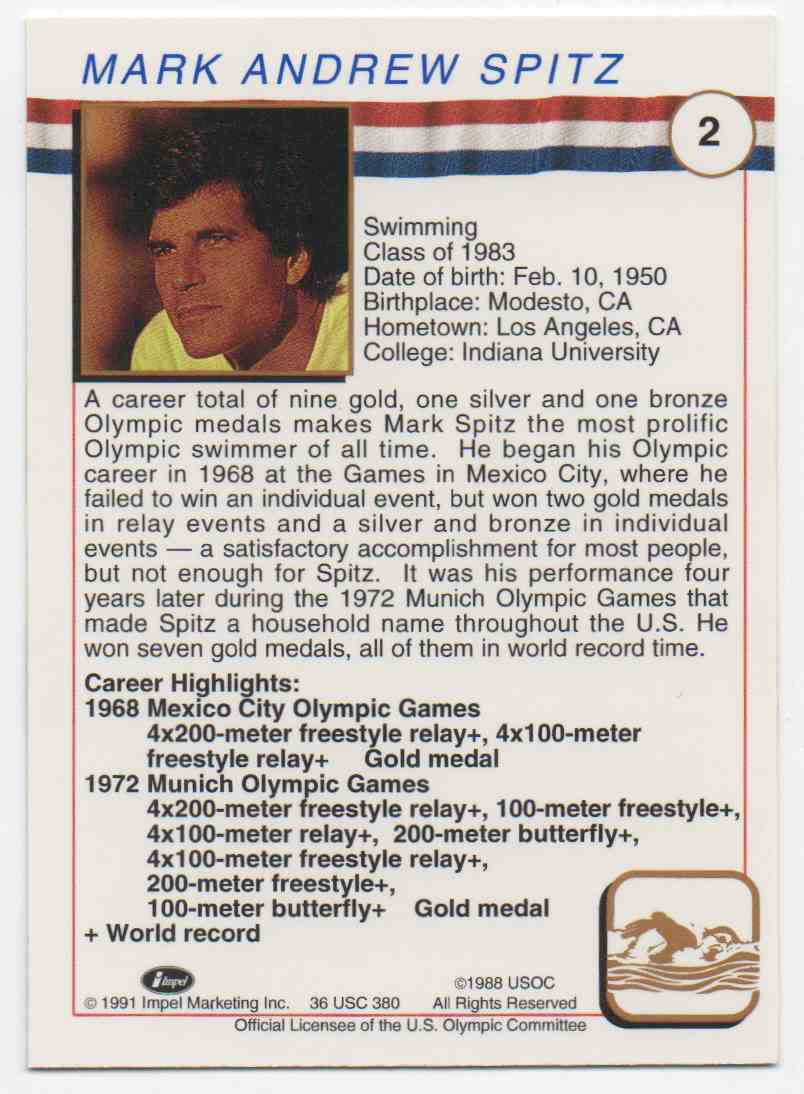 1991 Impel U.S. Olympic Hall Of Fame Mark Spitz #2 card back image