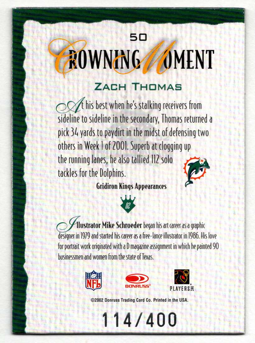 2002 Donruss Gridiron Kings Silver Zach Thomas #50 card back image