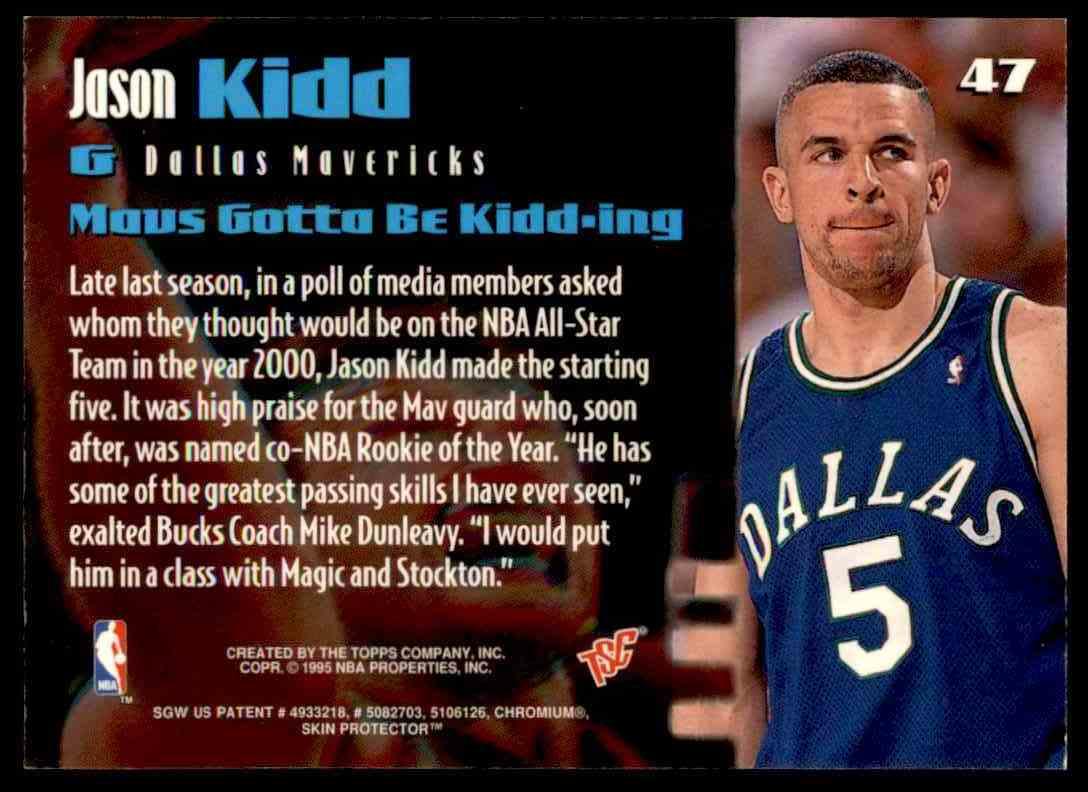 1994 95 Topps Stadium Club Rookie Picks Members Only Jason Kidd 47