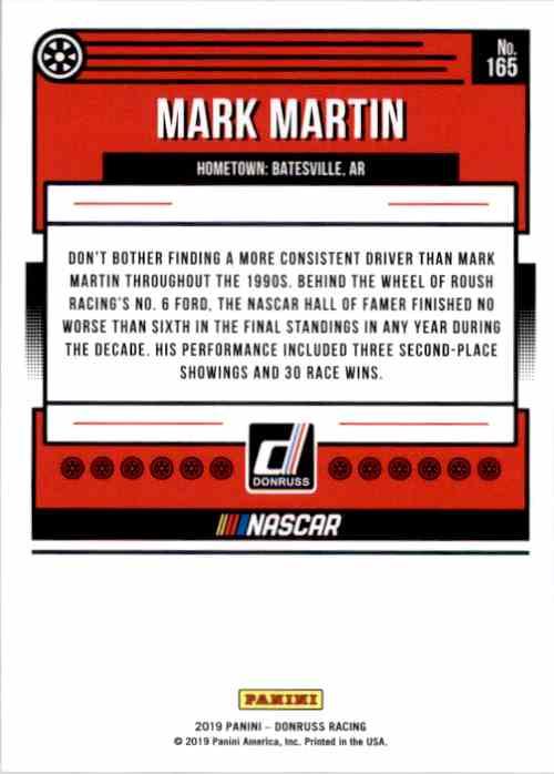 2019 Donruss Mark Martin #165 card back image