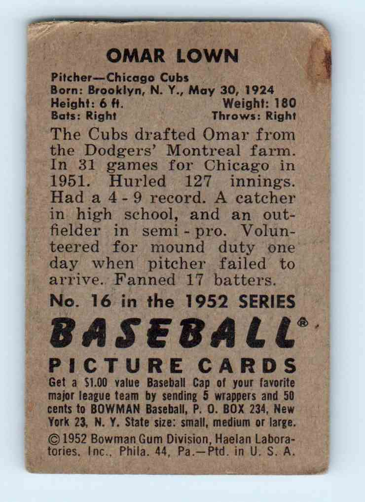 1952 Bowman Omar Lown #16 card back image