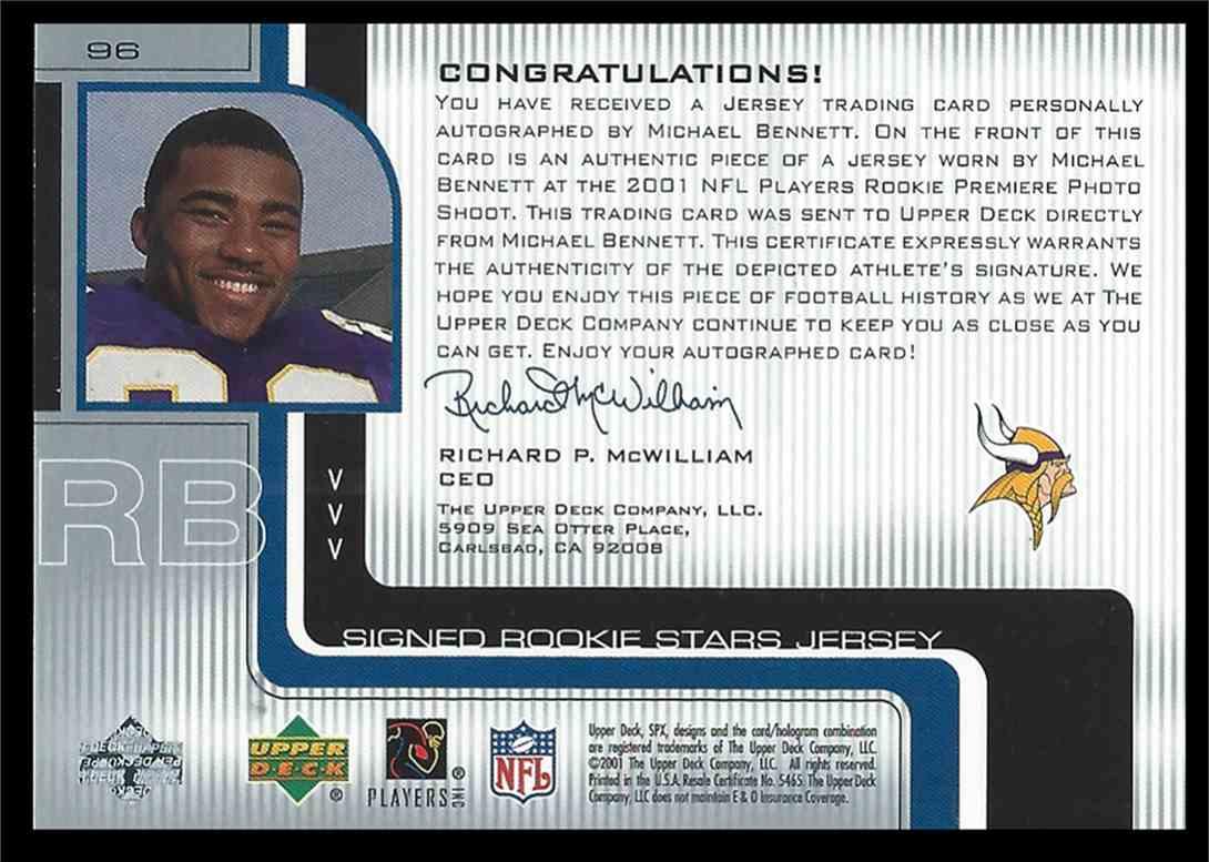 2001 SPx Michael Bennett #96 card back image