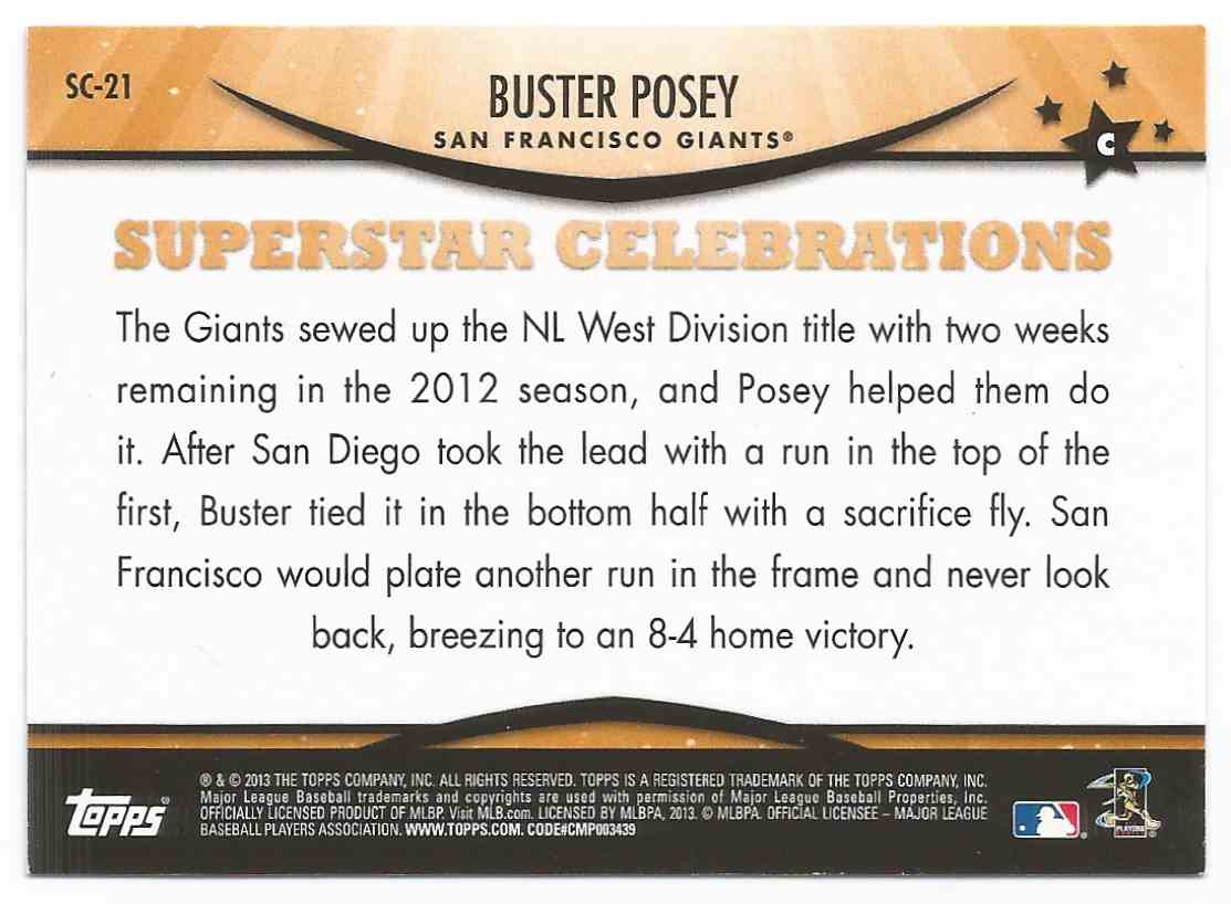 2013 Topps Opening Day Superstar Celebration Buster Posey #SC-21 on ...