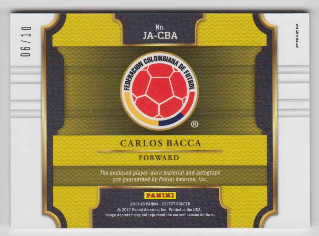 2017 Panini Select Prizm Gold Carlos Bacca #JA-CBA card back image