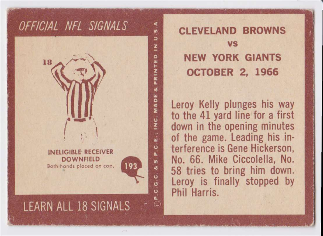 1967 Pcgc Browns Vs Giants #193 card back image