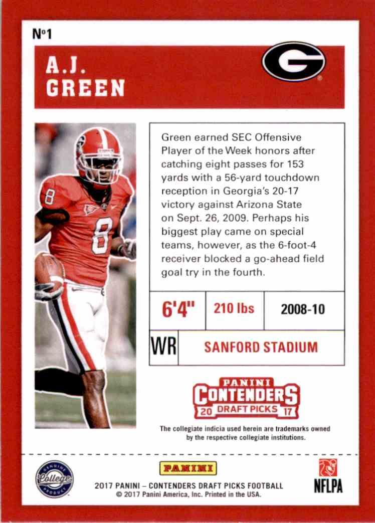 2017 Panini Contenders Draft Picks A.J. Green #1 card back image