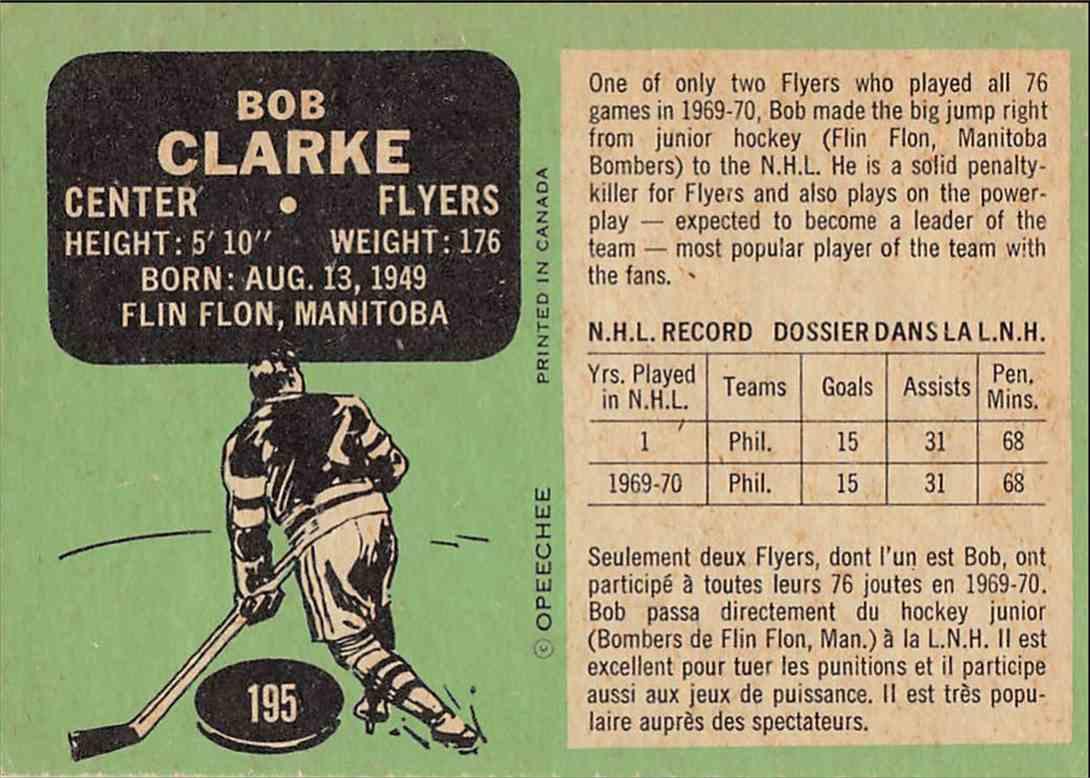1970-71 O-Pee-Chee Bob Clarke #195 card back image