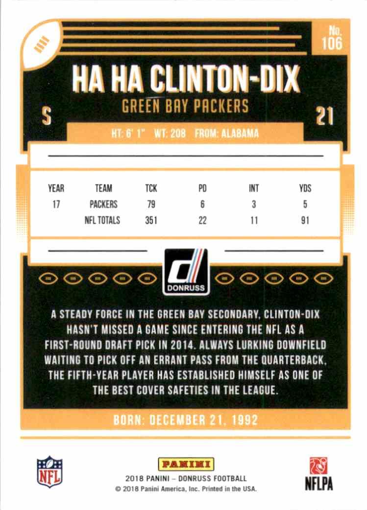 2018 Donruss Ha Ha Clinton-DIX #106 card back image