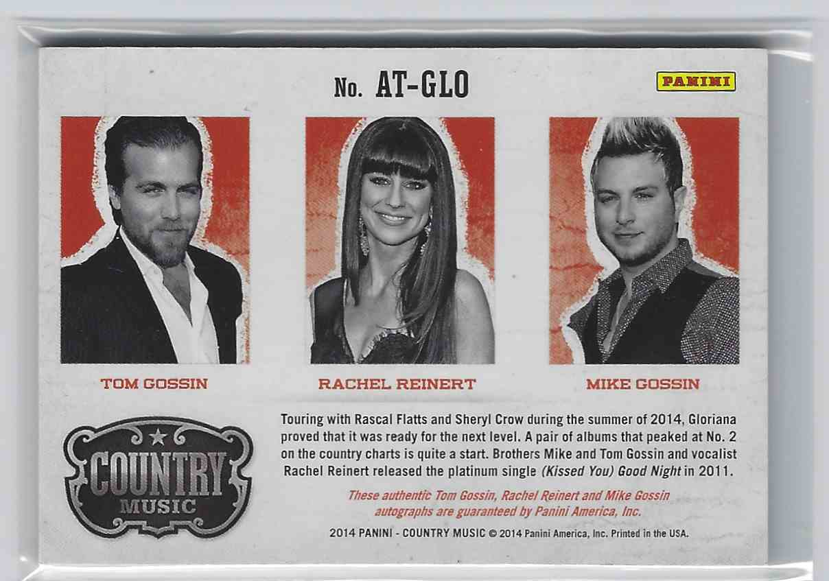 2015 Country Music Triple Signatures Green Tom Gossin/Rachel Reinert/Mike Gossin #AT-GLO card back image