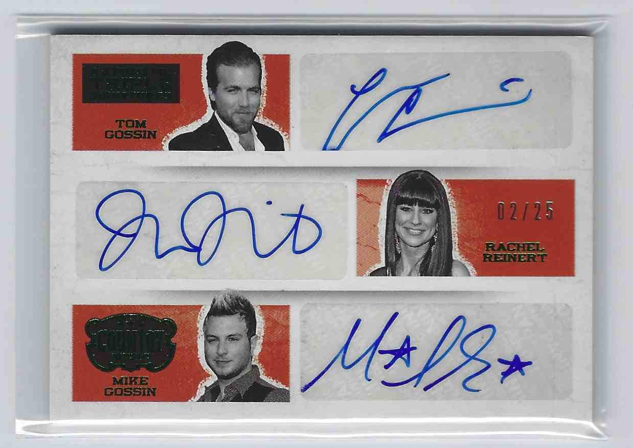 2015 Country Music Triple Signatures Green Tom Gossin/Rachel Reinert/Mike Gossin #AT-GLO card front image