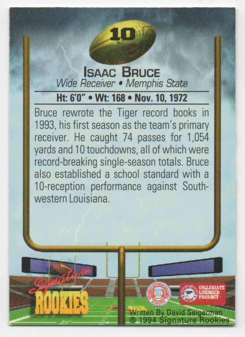 1994 Signature Rookies Isaac Bruce #10 card back image
