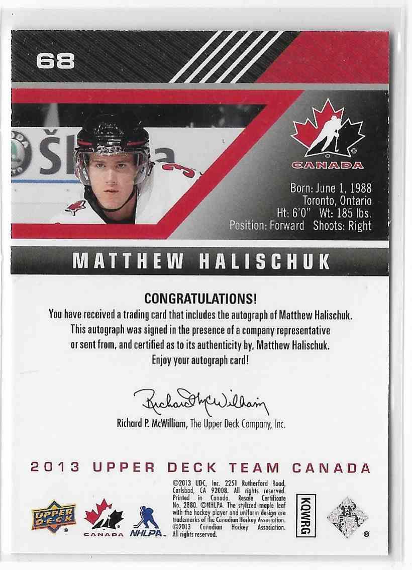 2013-14 Upper Deck Team Canada Matthew Halischuk #68 card back image