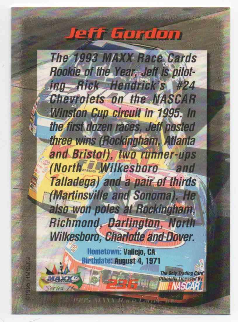 1995 Maxx Jeff Gordon #236 card back image