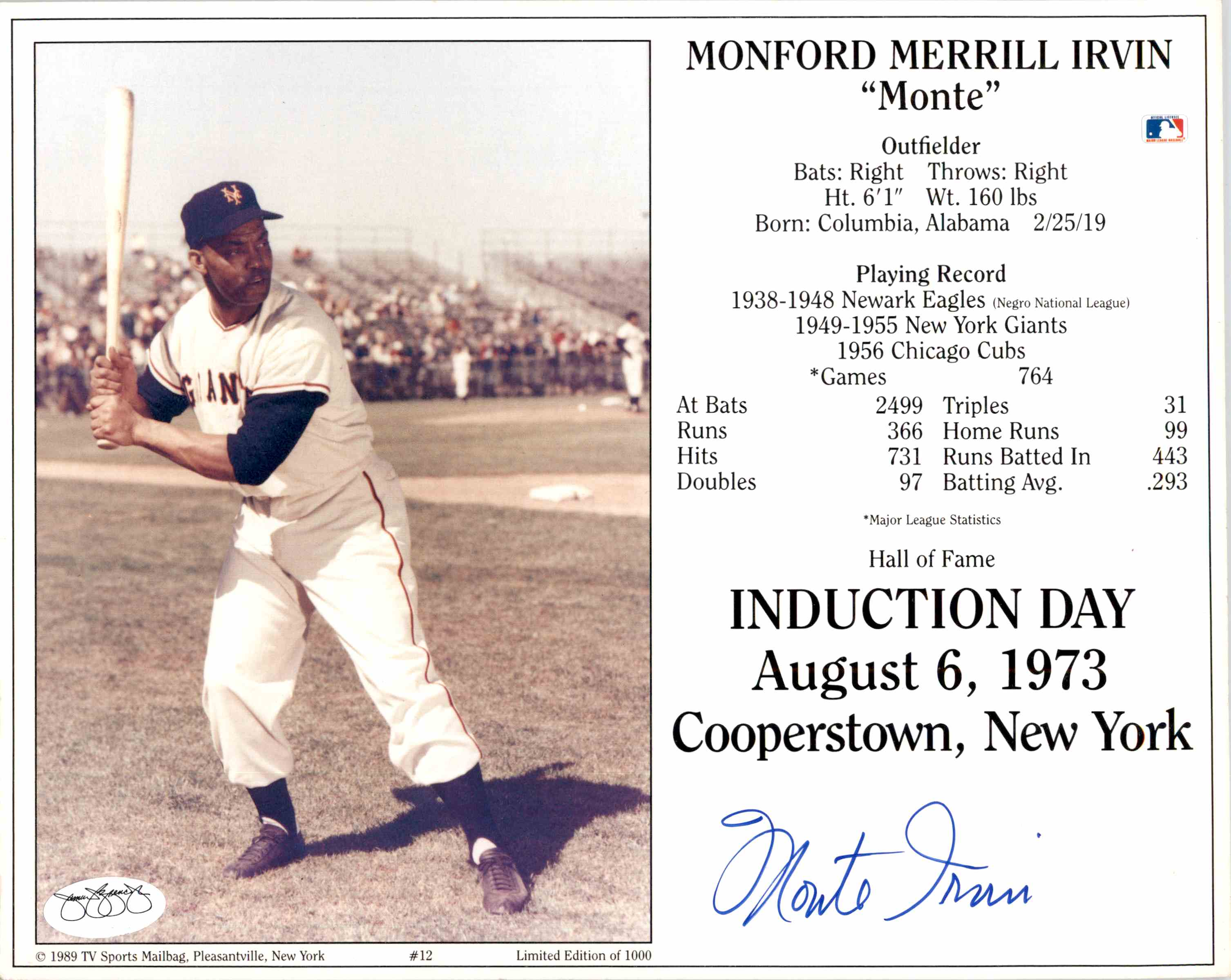 1989 Monte Irvin Signed Hof Induction Card 8X10 Jsa Certification card front image