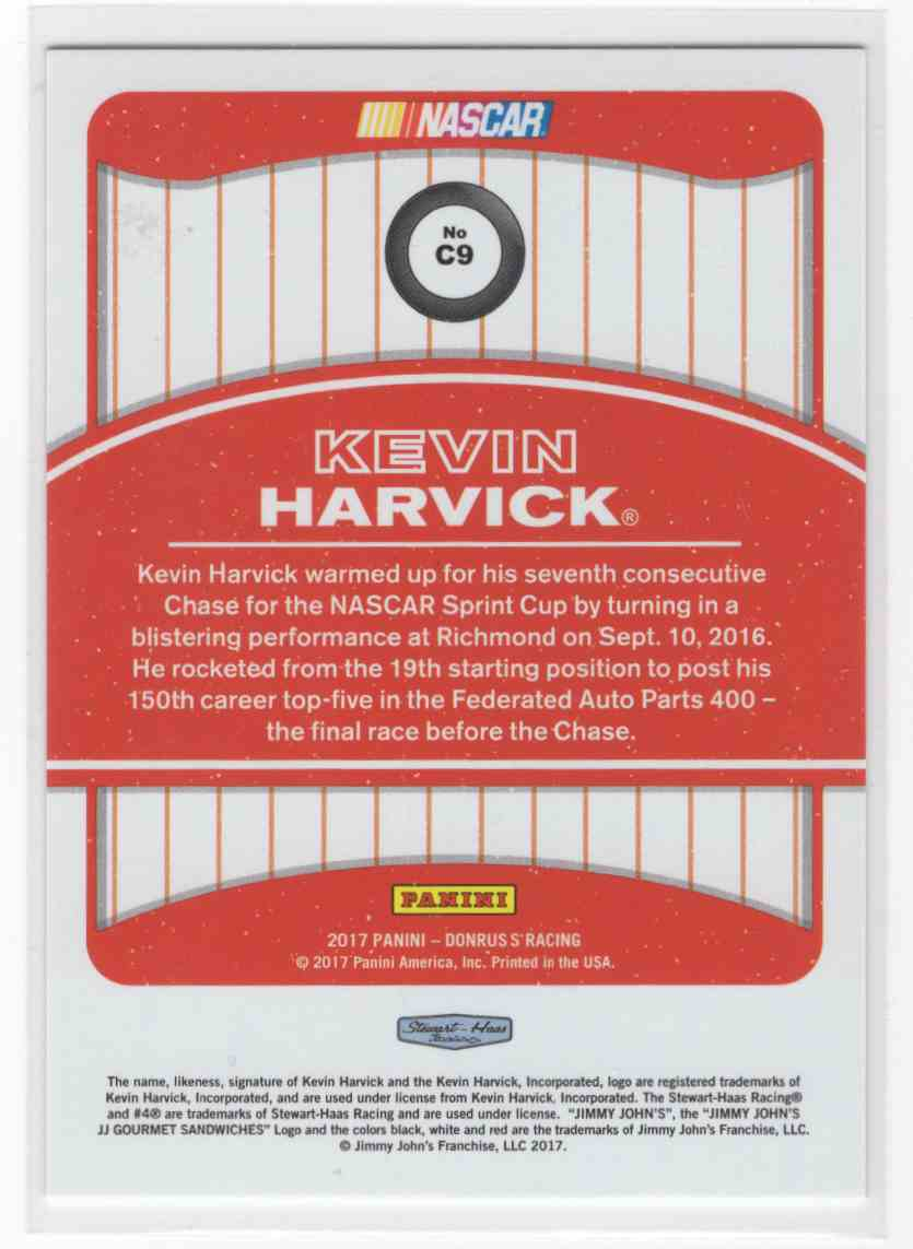 2017 Panini Donruss Racing Kevin Harvick #C9 card back image