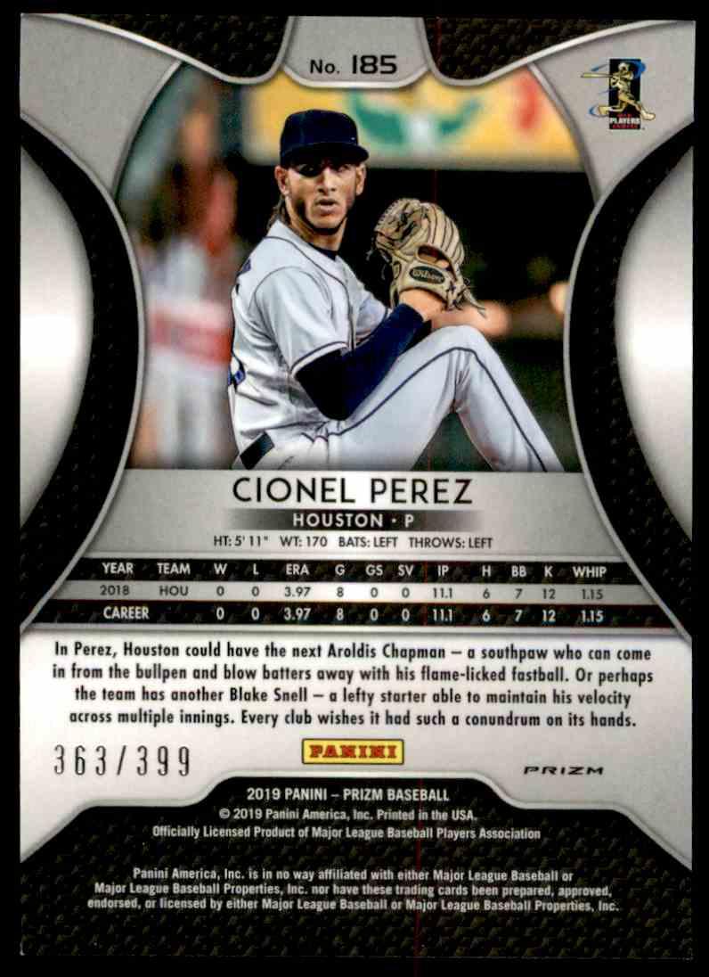 2019 Panini Prizm Blue Mojo Cionel Perez #185 card back image