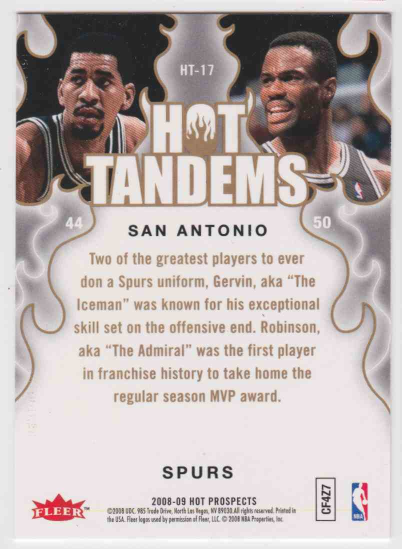 2008-09 Fleer Hot Prospects Tandems George Gervin David Robinson #HT-17 card back image