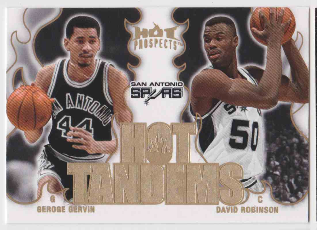 2008-09 Fleer Hot Prospects Tandems George Gervin David Robinson #HT-17 card front image