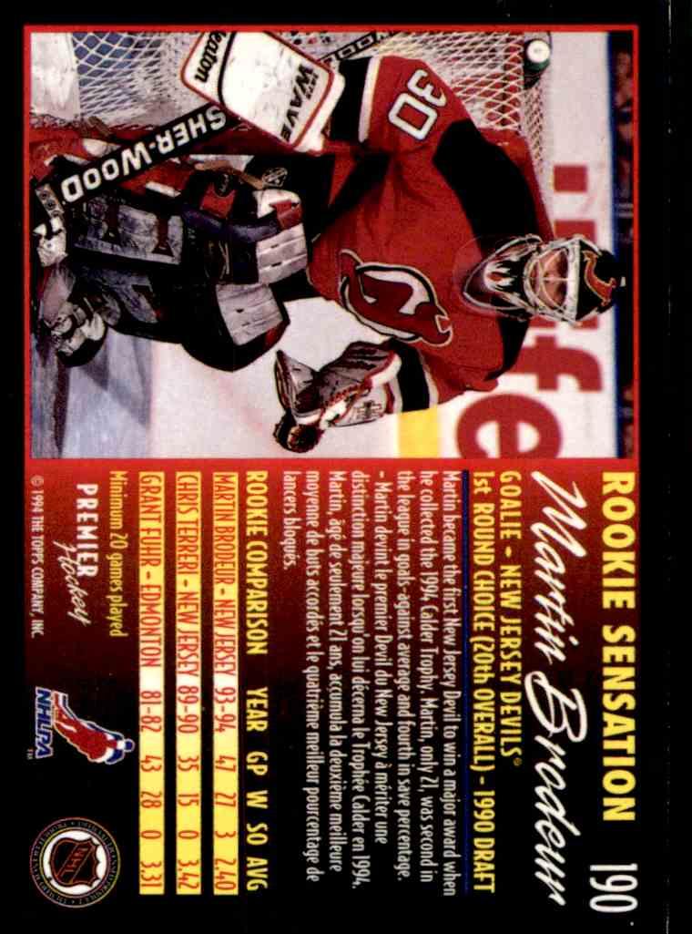 1994 95 Topps Premier Martin Brodeur 190 On Kronozio