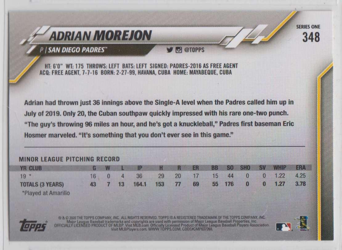 2020 Topps Adrian Morejon #348 card back image