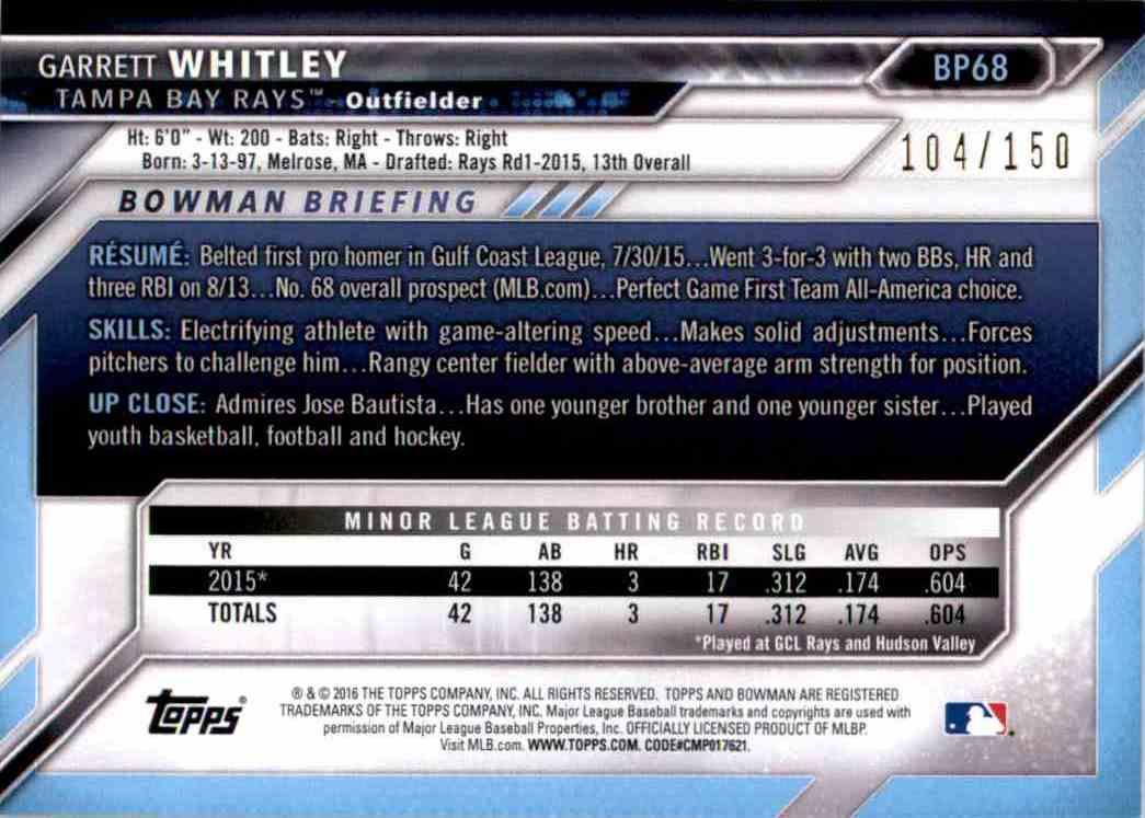 2016 Bowman Prospects Blue Garrett Whitley #BP68 card back image